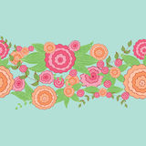 Cute hand drawn floral border. Decorative hand-drawn floral border. Can be used for invitation card, template design for card, as background Royalty Free Stock Image