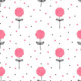 Cute hand drawn floral pattern with watercolor splashes Stock Photography