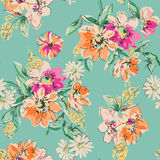 Cute hand drawn flower print - seamless background Royalty Free Stock Images