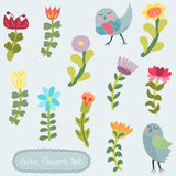 Cute hand drawn flowers set Stock Photo
