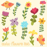 Cute hand drawn flowers set Royalty Free Stock Photo