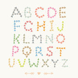 Cute hand drawn font with hearts Stock Image