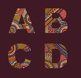Vector letters set A-D Royalty Free Stock Images