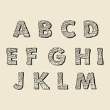 Cute hand drawn font. Vector letters set A-M Stock Images