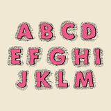 Cute hand drawn font. Vector letters set A-M Royalty Free Stock Images