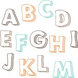 Cute hand drawn font. Vector letters set A-M Stock Photos