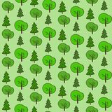 Cute hand drawn forest pattern. Cute hand drawn green seamless forest pattern Royalty Free Stock Images