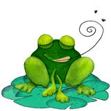 Cute hand drawn frog with eyes closed on lily pads with swirly tongue and flies. vector illustration
