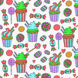 Cute hand drawn sweets pattern Stock Photos