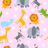 Cute hand drawn funny African animals. Seamless pattern. Stock Image