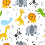 Cute hand drawn funny animals. Seamless pattern. Royalty Free Stock Photos