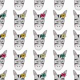 Cute hand drawn funny zebra royalty free illustration