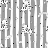 Cute hand drawn funny zebra Seamless pattern. vector illustration Stock Images
