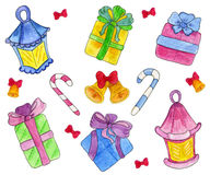 Cute hand drawn gift boxes with bows and Christmas flashlight, sticks nd bells. Watercolor illustration. Stock Photography
