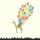 Cute hand drawn giraffe flying on the balloons - perfect newborn Stock Images