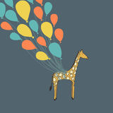 Cute hand drawn giraffe flying on the balloons - perfect newborn Royalty Free Stock Photography