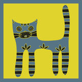 Cute hand drawn grey cat with striped paws and tail on a yellow background Royalty Free Stock Image