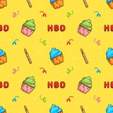 Cute Hand drawn Happy Birthday Cup Cake with Candle and text seamless pattern. Vector EPS10 Stock Photography