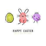 Cute hand drawn Happy Easter greeting card Stock Image