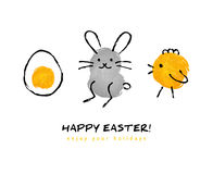 Cute hand drawn Happy Easter greeting card Stock Photos
