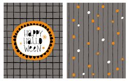 Cute Hand Drawn Happy Halloween Vector Card and Irregular Pattern. Hand Written Black Letters. Dark Gray Background. Black Tiny Vertical Shape Stripes. Orange Vector Illustration