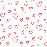 Cute hand drawn hearts pattern Royalty Free Stock Images