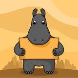 Cute hand drawn hippo with empty banner Stock Photos