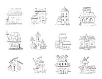 Cute hand drawn houses with windows, doodle housing, sketchy homes vector set. Linear sketch of suburb home, ilustration of home in pencil vector illustration