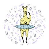 Cute hand-drawn illustration of a lama-ballerina in a tutu.  Stock Images