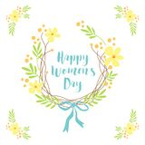 Cute hand drawn International Women`s Day sale banner as rustic wreath with different first spring flowers Stock Photography