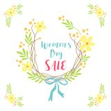 Cute hand drawn International Women`s Day sale banner as rustic wreath with different first spring flowers Stock Images
