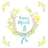Cute hand drawn International Women`s Day sale banner as rustic wreath with different first spring flowers Royalty Free Stock Photography