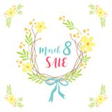 Cute hand drawn International Women`s Day sale banner as rustic wreath with different first spring flowers Stock Photos
