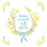 Cute hand drawn International Women`s Day sale banner as rustic wreath with different first spring flowers Royalty Free Stock Photo