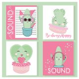 Cute Hand drawn Kawaii Cactus. Collection of Doodle Illustration in vector for cards, mugs, baby shower, birthdays Invitations. Cute Hand drawn Kawaii Cactus vector illustration
