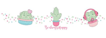Cute Hand drawn Kawaii Cactus. Collection of Doodle Illustration in vector for cards, mugs, baby shower, birthdays Invitations. Cute Hand drawn Kawaii Cactus stock illustration