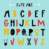 Cute hand drawn latin alphabet letters. Color vector abc illustration.  Royalty Free Stock Photos