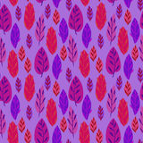 Cute hand drawn Leaves ornament. Colorful Vector seamless pattern. Stock Image