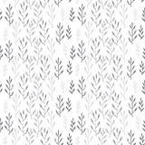 Cute hand drawn Leaves ornament. Monochromel Vector seamless pattern. vector illustration