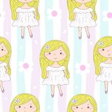 Cute hand drawn with cute little girl vector seamless pattern illustration.  Royalty Free Stock Images