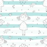 Cute hand drawn with cute little girl vector seamless pattern illustration.  Royalty Free Stock Photography