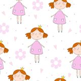 Cute hand drawn with cute little girl vector seamless pattern illustration.  Royalty Free Stock Photo