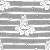Cute hand drawn with cute little girl vector seamless pattern illustration.  Royalty Free Stock Image