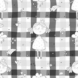 Cute hand drawn with cute little girl vector seamless pattern illustration.  Stock Images