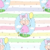 Cute hand drawn with cute little girl vector seamless pattern illustration.  Stock Image