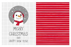 Cute Hand Drawn Merry Christmas and Happy New Year Vector Card and Pattern. Funny Snowman in a Gray Circle. White Grid on a Light Gray Background. White Tiny royalty free illustration