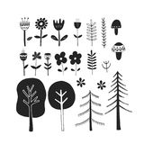 Cute hand drawn monochrome floral set. Unique  botanical collection of flower, mushrooms, trees. Stock Photo