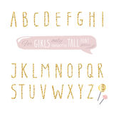 Cute hand drawn narrow glitter font for girls. Tall shiny alphabet. Doodle  written condensed thin letters. Stock Photography