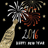 Cute hand drawn New Year 2016 greeting card with champagne bottle and fireworks,  Stock Photos