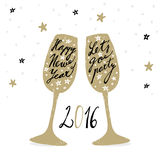 Cute hand drawn New Year 2016 greeting card with wine glasses,  Royalty Free Stock Photography
